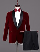 זול ז'קטים-בורגנדי אחיד גזרה מחוייטת פוליאסטר חליפה - צווארון צעיף (שאל) Single Breasted One-button
