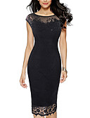 cheap Romantic Lace Dresses-Women's Basic Bodycon Dress - Solid Colored Patchwork Black Red Purple XXXL XXXXL XXXXXL