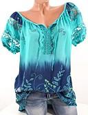 hesapli Bluz-Kadın's V Yaka Salaş - Tişört Çiçekli Temel Büyük Bedenler Fuşya