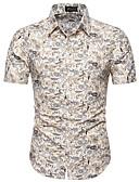 hesapli Erkek Gömlekleri-Erkek Gömlek Çiçekli Temel Büyük Bedenler Beyaz / Kısa Kollu