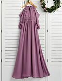 זול שמלות לילדות פרחים-גזרת A צווארון עגול קצר עד הריצפה שיפון שמלה לשושבינות הצעירות  עם סלסולים על ידי LAN TING BRIDE® / מסיבת החתונה
