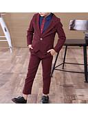 זול חליפות לנושאי הטבעת-בורגנדי / נייבי כהה כותנה חליפה לנושא הטבעת  - 1set כולל ג'קט / Pants / אביזרים
