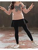 זול סטים של ביגוד לבנות-סט של בגדים שרוול ארוך פפיון אחיד / משובץ דמקה בסיסי / סגנון סיני בנות ילדים