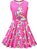 זול בגדי ים לבנות-שמלה מעל הברך ללא שרוולים אנימציה Unicorn פעיל / סגנון רחוב בנות ילדים / פעוטות