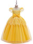 זול שמלות לילדות פרחים-נסיכה עד הריצפה שמלה לנערת הפרחים  - תחרה / סאטן / טול רצועות עם תכשיטים עם פפיון(ים) / תחרה / חגורה על ידי LAN TING Express