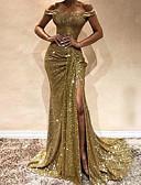 hesapli NYE Elbiseleri-Kadın's Zarif Kılıf Elbise - Solid, Payetler Düşük Omuz Parıltı Düşük Omuz Maksi