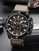 זול שעונים-בגדי ריקוד גברים שעון מכני קווארץ עור אמיתי עמיד במים אנלוגי יום יומי - שחור חום כחול / מתכת אל חלד