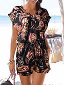 זול סרבלים ואוברולים לנשים-L XL XXL טלאים / דפוס קולור בלוק, Rompers הארם שחור סגנון רחוב בגדי ריקוד נשים