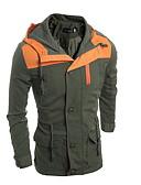 hesapli Erkek Gömlekleri-Erkek Günlük Kış Normal Ceketler, Zıt Renkli Kapşonlu Uzun Kollu Polyester Ordu Yeşili / Haki