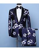 זול חליפות-שחור מעוטר גזרה צרה כותנה חליפה - פתוח Single Breasted One-button
