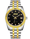 זול שעונים-בגדי ריקוד גברים שעון מכני אוטומטי נמתח לבד מתכת אל חלד עמיד במים אנלוגי מינימליסטי - זהב לבן שחור