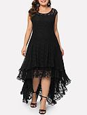billige Kjoler i plusstørrelser-Dame Elegant A-linje Kjole - Ensfarget Asymmetrisk