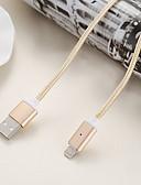זול כבל & מטענים iPhone-כבל מגנטי 2.4a מטען נתונים 1m מתכת ניילון מטען מהיר הטלפון הנייד כבל מגנט עבור Apple iPhone