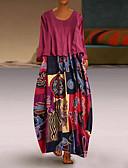 abordables Robes Imprimées-Femme Maxi Balançoire Robe - Mosaïque Bleu Rouge Jaune XXXL XXXXL XXXXXL Manches Longues