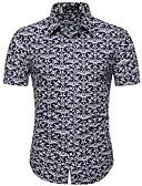 hesapli Erkek Gömlekleri-Erkek Dik Yaka Gömlek Desen, Solid / Geometrik / Grafik Siyah / Kısa Kollu