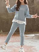 זול סטים של ביגוד לבנות-סט של בגדים כותנה שרוול ארוך Ruched אחיד פעיל / בסיסי בנות ילדים
