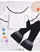 זול שמלות לבנות-סט של בגדים שרוול ארוך גלקסיה / קולור בלוק בסיסי בנות ילדים