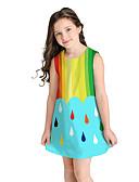 זול שמלות לבנות-שמלה מעל הברך שרוולים קצרים קולור בלוק / פירות מתוק / סגנון חמוד בנות ילדים / כותנה