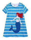זול ילדים כובעים ומצחיות-שמלה עד הברך שרוולים קצרים פסים מתוק / סגנון חמוד בנות ילדים / פעוטות / כותנה