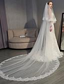 """זול הינומות חתונה-שתי שכבות אלגנטי ויוקרתי / סגנון ארופאי הינומות חתונה צעיפי קתדרלה עם אפליקציות 118.11 אינץ' (300 ס""""מ) תחרה / טול"""