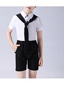 זול חליפות לנושאי הטבעת-לבן / שחור פוליאסטר חליפה לנושא הטבעת  - 1set כולל חולצה / Pants