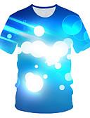 """זול טישרטים לגופיות לגברים-קולור בלוק / 3D / גראפי צווארון עגול סגנון רחוב / מוּגזָם מועדונים האיחוד האירופי / ארה""""ב גודל טישרט - בגדי ריקוד גברים דפוס פול / שרוולים קצרים"""