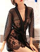 رخيصةأون القمصان وملابس النوم-نسائي مثير ثوب / بدلات ملابس نوم دانتيل / شبكة, لون سادة أسود L XL XXL