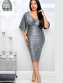 זול שמלות NYE-עד הברך אחיד - שמלה צינור בגדי ריקוד נשים
