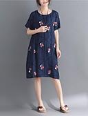 זול שמלות נשים-צווארון עגול קצר מידי דפוס, שבטי - שמלה ישרה מידות גדולות וינטאג' סגנון סיני בגדי ריקוד נשים