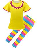 זול שמלות לבנות-סט של בגדים כותנה שרוולים קצרים פסים / קשת פעיל / סגנון רחוב בנות ילדים / פעוטות