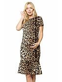halpa Mekot-Naisten T Paita Mekko - Geometrinen Leopardi, Röyhelö Midi