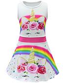 זול בגדי ים לבנות-שמלה מעל הברך ללא שרוולים פרחוני Unicorn פעיל / סגנון רחוב בנות ילדים / פעוטות