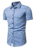 رخيصةأون قمصان رجالي-رجالي قميص عتيق / أساسي طباعة منقوش / شيك أزرق فاتح L