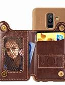 זול מגנים לטלפון-מגן עבור Samsung Galaxy A6 (2018) / A6+ (2018) / Galaxy A7(2018) ארנק / מחזיק כרטיסים / עמיד בזעזועים כיסוי אחורי אחיד קשיח עור PU