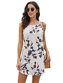 cheap Women's Dresses-Women's Elegant A Line Dress - Floral Print Blue White M L XL