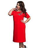 זול שמלות במידות גדולות-מידי דפוס, פרחוני - שמלה ישרה אלגנטית בגדי ריקוד נשים