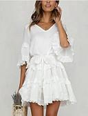 hesapli Mini Elbiseler-Kadın's Sokak Şıklığı A Şekilli Elbise - Solid, Desen Diz-boyu
