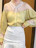 hesapli Bluz-Kadın's Gömlek Yaka Bluz Kırk Yama, Solid Sarı
