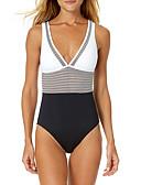 hesapli Bikiniler ve Mayolar-Kadın's Beyaz Tek Parçalılar Mayolar - Zıt Renkli S M L Beyaz