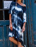 hesapli Print Dresses-Kadın's Sokak Şıklığı Şifon Elbise - Soyut Batik, Kırk Yama Diz-boyu / Düşük Omuz