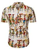 hesapli Erkek Tişörtleri ve Atletleri-Erkek Pamuklu Klasik Yaka Tişört Desen, Grafik / Kabile Temel AB / ABD Beden Beyaz / Kısa Kollu