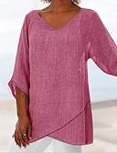 hesapli Tişört-Kadın's Pamuklu V Yaka Salaş - Tişört Solid Gül kurusu Doğal Pembe