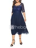 זול שמלות מודפסות-מותניים גבוהים מידי תחרה, אחיד - שמלה סווינג מידות גדולות חגים ליציאה בגדי ריקוד נשים
