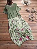 hesapli Kadın Elbiseleri-Kadın's Zarif Kombinezon Elbise - Çiçekli Midi