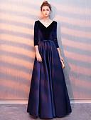 זול שמלות שושבינה-גזרת A צווארון V עד הריצפה סאטן / קטיפה נוצץ וזוהר נשף רקודים שמלה עם על ידי LAN TING Express