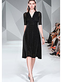 hesapli Günlük Elbiseler-Kadın's Temel Zarif A Şekilli Çan Elbise - Solid Zıt Renkli, Kırk Yama Desen Midi