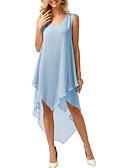 hesapli Kadın Etekleri-Kadın's A Şekilli Elbise Fırfırlı Derin V Asimetrik