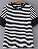 저렴한 티셔츠-여성용 줄무늬 티셔츠 화이트 US14 / UK18 / EU46