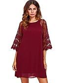 hesapli Mini Elbiseler-Kadın's A Şekilli Elbise - Geometrik, Dantel Diz-boyu