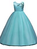 זול שמלות לילדות פרחים-נסיכה עד הריצפה שמלה לנערת הפרחים  - פוליאסטר / טול ללא שרוולים עם תכשיטים עם דוגמא \ הדפס / חגורה על ידי LAN TING Express